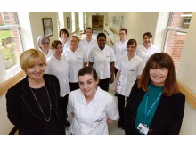 Dr Alison Machin (L) and Debbie Reape (R) with Northumbria Healthcare NHS Trust students