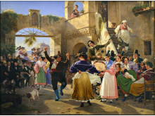 Wilhelm Marstrand, Romerske borgere forsamlede til lystighed i et osteri, 1839. Nivaagaards Malerisamling.jpg