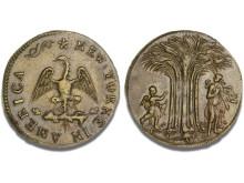 Amerikansk messingmønt, New York(e), ca. 1668 - 1673.