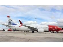 Norwegian's Tom Crean tail fin 737 MAX at Dublin Airport