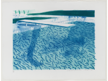 """David Hockney: """"Lithograph of Water Made of Thick and Thin Lines and Two Light Blue Washes"""""""