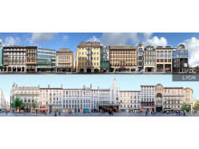 Streetline Panoramen von Straßenzügen in Leipzig und Lyon