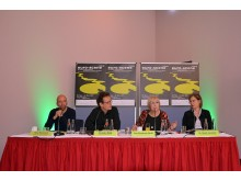 Pressekonferenz zur euro-scene Leipzig (v.l.n.r. René Reinhardt, Christian Watty, Ann-Elisabeth Wolff & Dr. Skadi Jennicke)