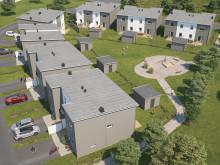 Översiktsillustration av det nya kvarteret, BoKlok Smaragden i Färjestaden.