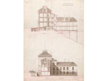 Norges geografiske oppmåling, 1877, tverrsnitt, penn og lavering på papir, Wilhelm von Hanno