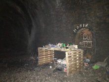 Temporary Bar in tunnel - With Drink, Glasses etc.
