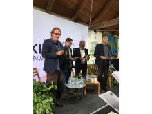 Fra venstre Christian Have, Andreas Steenberg, MF Radikale Venstre, Poul J. Pedersen, direktør Thise Mejeri og Mogens Jensen, MF Socialdemokratiet.