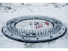 Fundament klar for montering av turbin Roan vindpark desember 2017