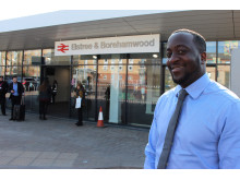 Station manager Marc Asamoah outside the newly completed extended concourse at Elstree & Borehamwood