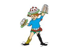 Pippi Långstrump med tårtor