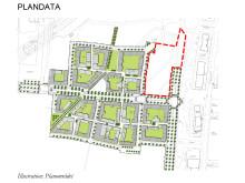 Plankarta över Bergendahls markförvärv i Hyllie centrum.