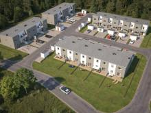 Översiktsillustration av det nya området med radhus, BoKlok Fritiden i Lindbacka.