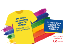 Our team are wearing colourful clothes this Easter weekend to show their support for fellow key workers