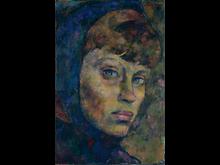 Ingrid Vang Nyman, Selvportræt med blåt tørklæde