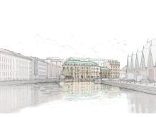 Visionsbild över ombyggnad av Röda Bryggan. Perspektiv från kanalen
