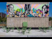 Fittja urban park. Korg furniture group, designed by Thomas Bernstrand. THE ART CUBE, Artistic director Saadia Hussain, Botkyrkabyggen 2015–2020.