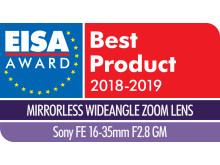 EISA Award Logo Sony FE 16-35mm F2.8 GM