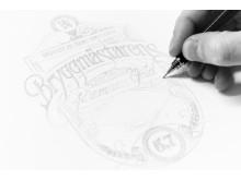 Skiss på vinnarbidraget i Bryggmästarens designtävling