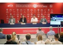 Virtuelle Reality - Podiumsgäste von links: Michael Drotleff (RB Leipzig), Volker Bremer (LTM GmbH), André Kaldenhoff (CCL) und Andreas Hachmeister (Leipzig Hotel Alliance)