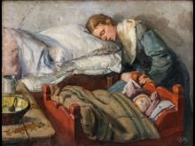 Christian Krohg - Sovende mor, 1883 - KODE, Bergen.. Fotograf: Dag Fosse/KODE