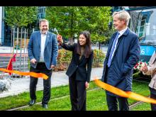 Byråd Lan Marie Berg åpner den nye traseen