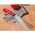 Kjøkkenkniv med en kuttbestandig hanske - for små mesterkokker!