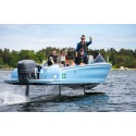 Powerboat champion Erik Stark tests the world's first performance electric boat - the flying Candela Seven