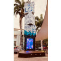 Personalized advertising in the futuristic city center in Ecuador