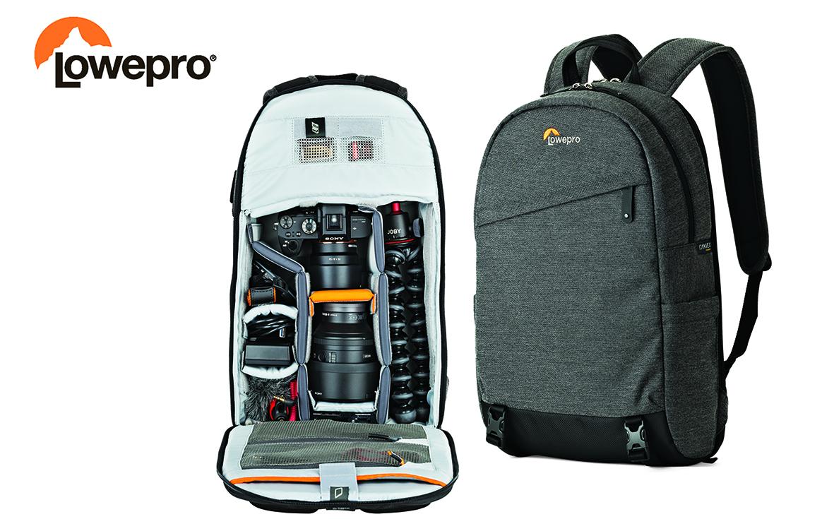 Plecak fotograficzny od Lowepro o opływowym, smukłym kształcie.