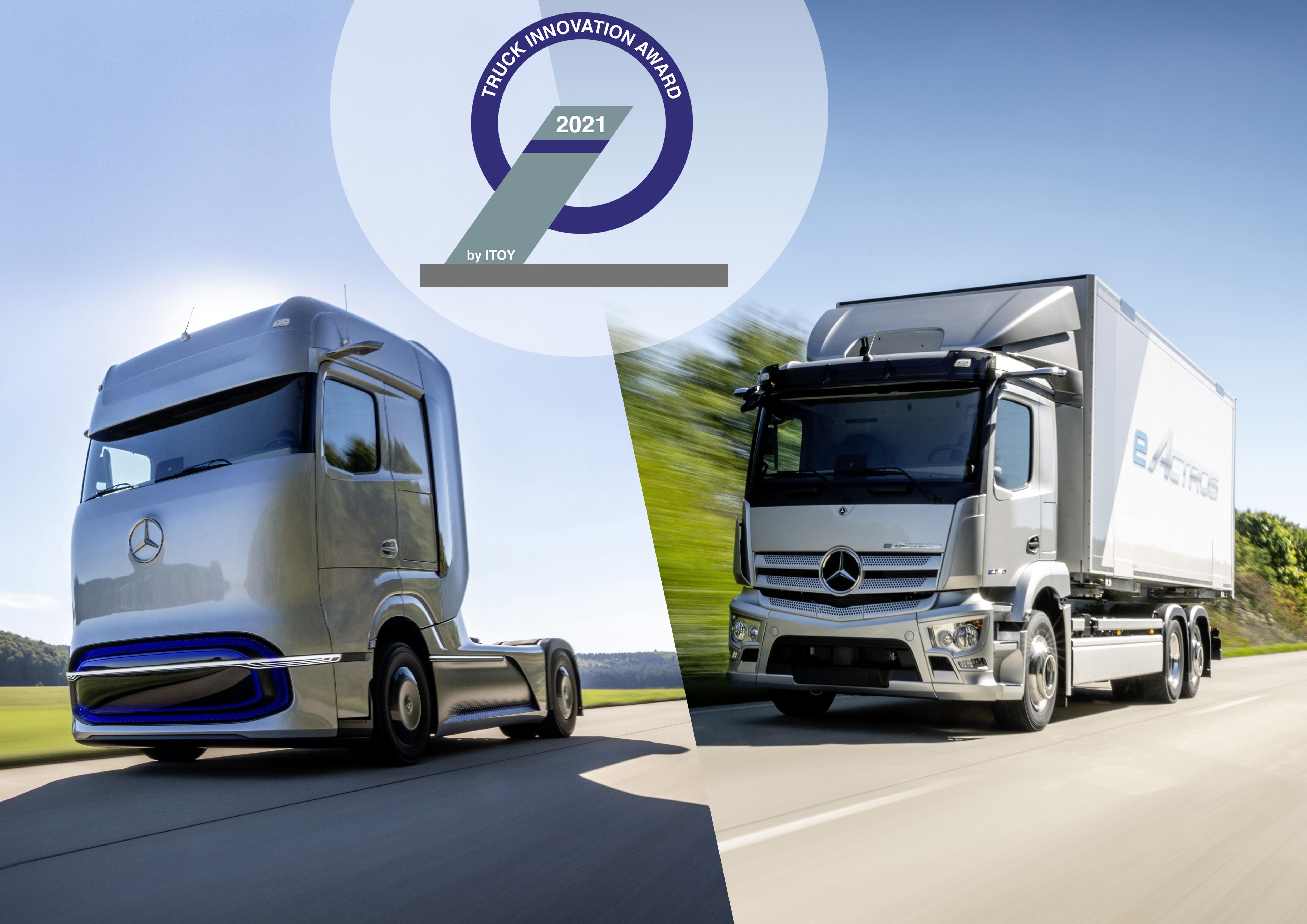 Lastbilsbranschens innovationspris till Mercedes-Benz el-lastbilar.