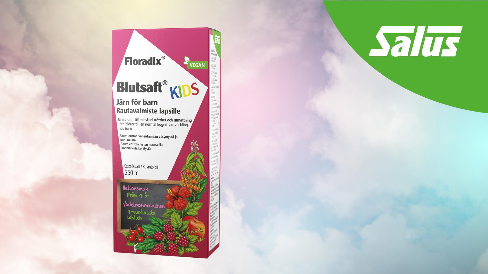 Uusi Salus Floradix Blutsaft Kids – vatsaystävällinen ja hyvänmakuinen rautavalmiste lapsille